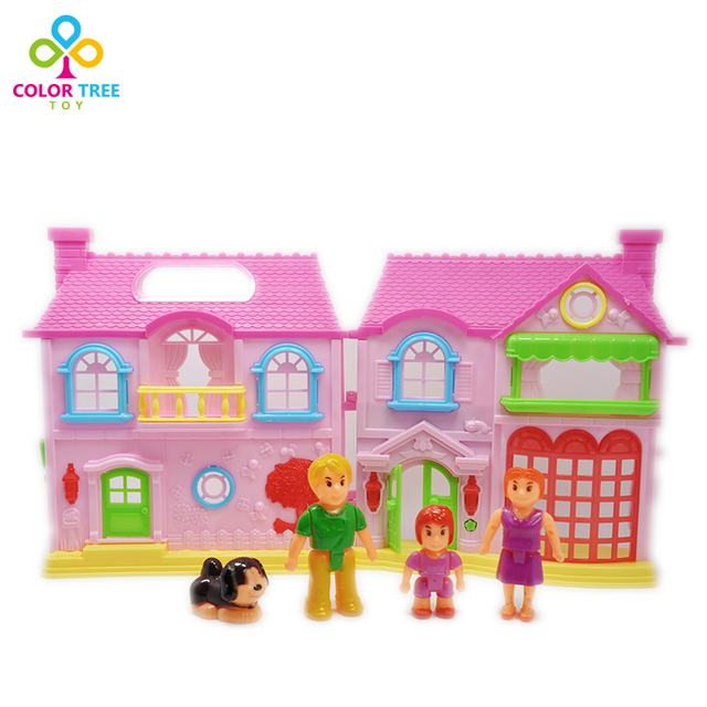 Kids Toy Doll House 3D Mini Plastic Electric Doll House with Light and Music and Toy Figures Birthday Christmas Gift for Girls
