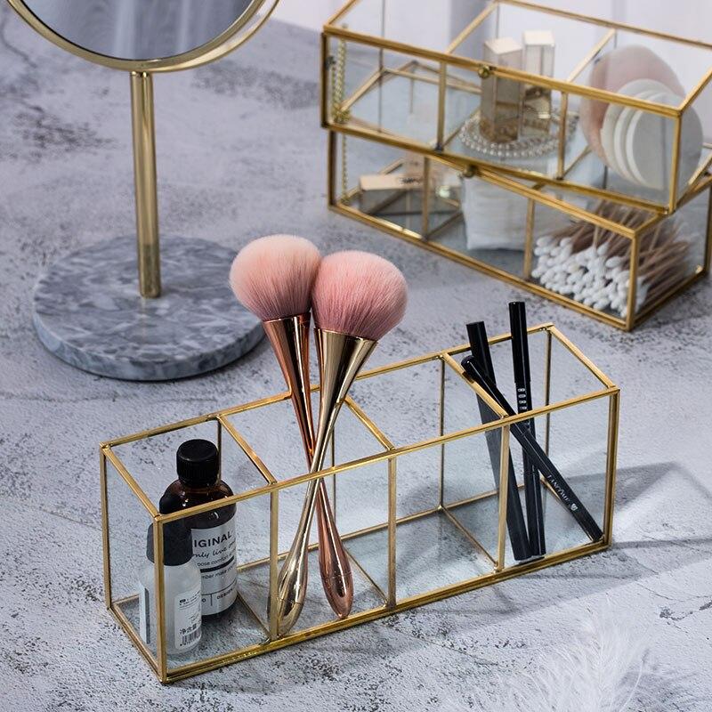 Роскошная прозрачная стеклянная коробка для макияжа, косметическая коробка для хранения, кисти для макияжа, органайзер, карандаш, губная помада, держатель, инструменты для макияжа, органайзер, чехол|Ящики и баки для хранения|   | АлиЭкспресс