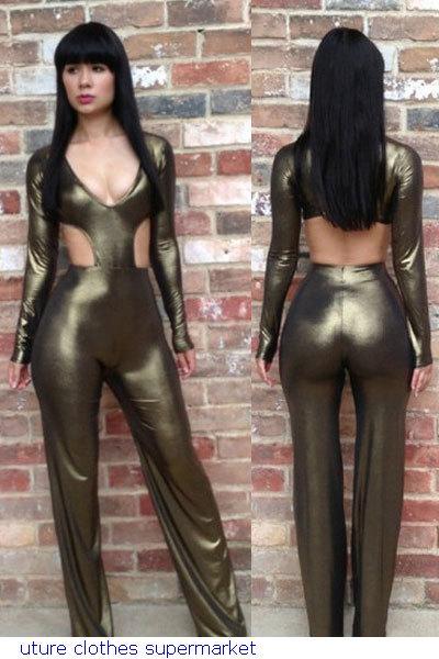 86b832aa5cd6a Celadon Metallic Cutout Jumpsuit LC9197 Faux Leather Jumpsuit Plus Size XL  9197 Lady Sexy Gothic Punk Clubwear Jumpsuit Romper