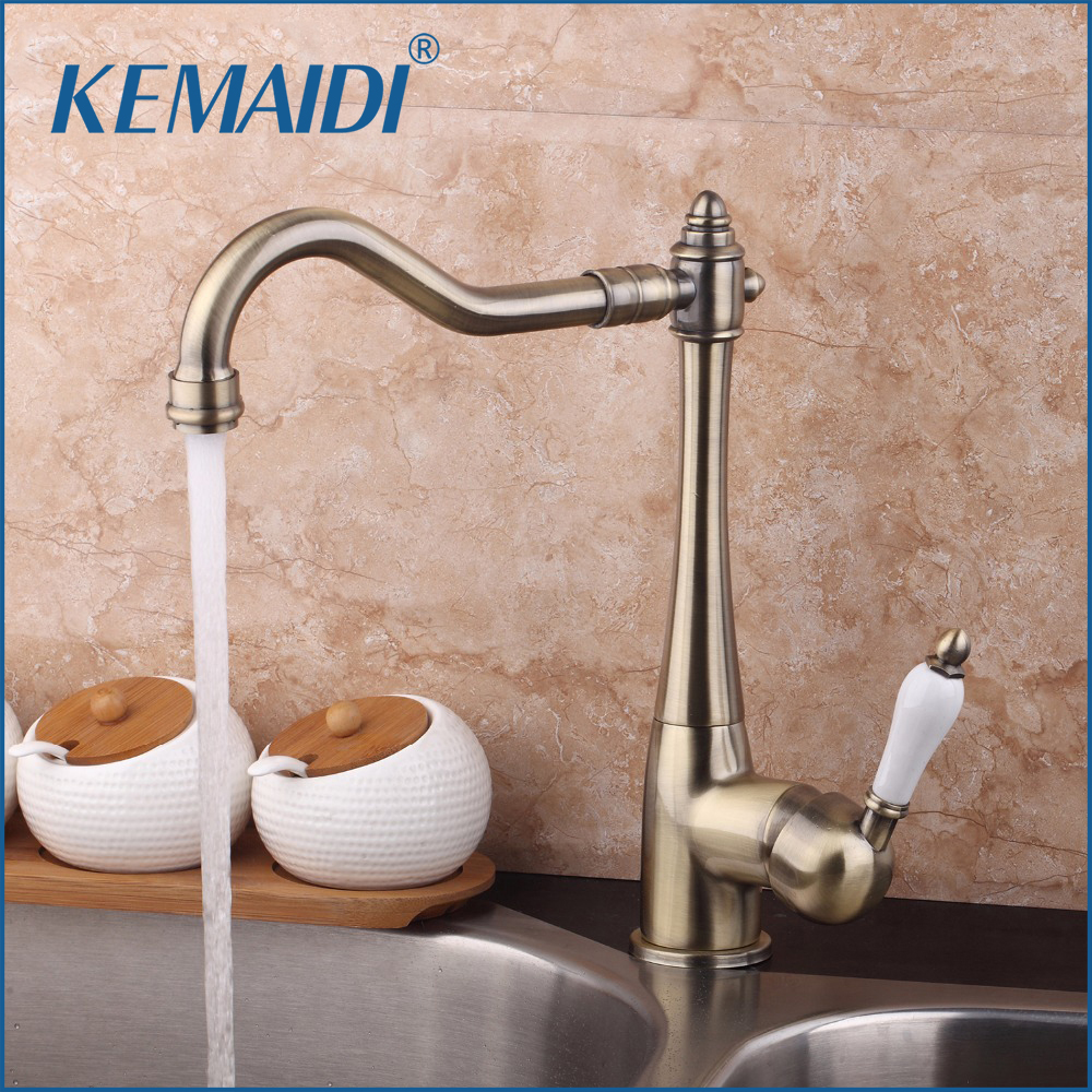 цена на KEMAIDI 360 Swivel Stream Spout Antique Copper Chrome Brass Finish Deck Mounted Tap Kitchen Sink Faucet Hot & Cold Mixer Taps