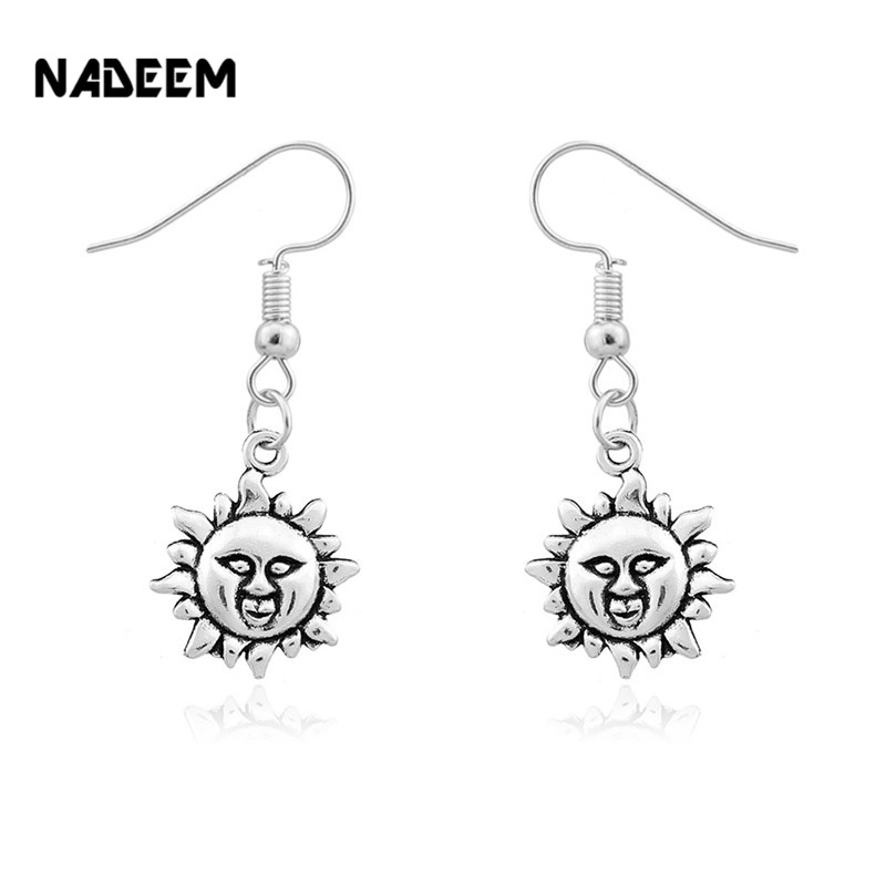 Drop Shipping Fashion Sun Flower Dangle Earrings Cute Women Gift Antique Silver Pated Ear Jewelry For Girls