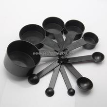 цена на New Free Shipping 10Pcs Black Plastic Measuring Spoons Cups Scoop Set Tools For Baking Coffee