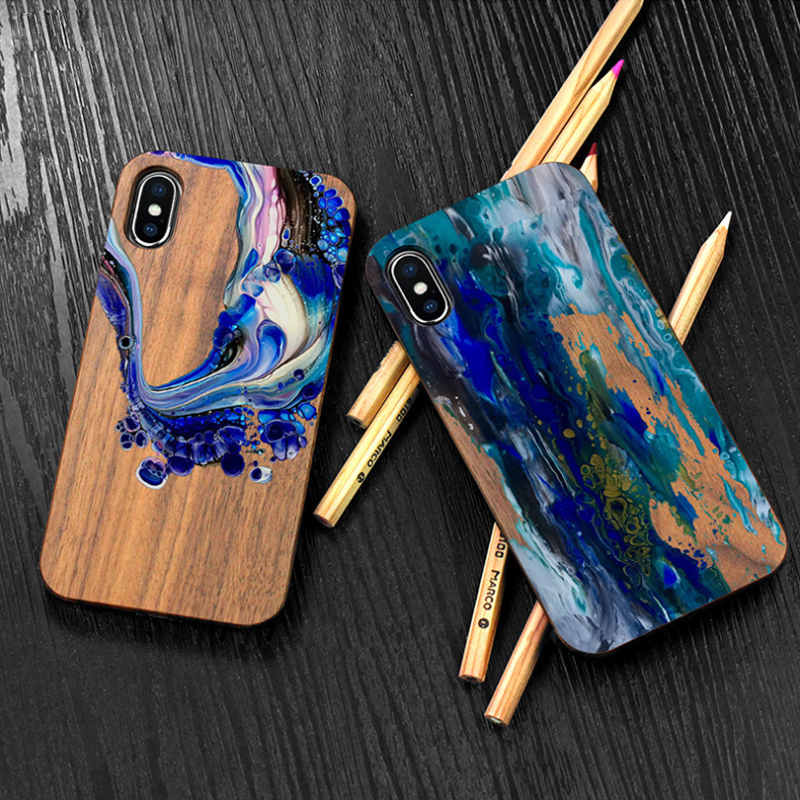 Coloured drawing real wood nature graffiti artistic phone case for Iphone 6 S 7 8 plus X S R MAX retro wooden phone shell