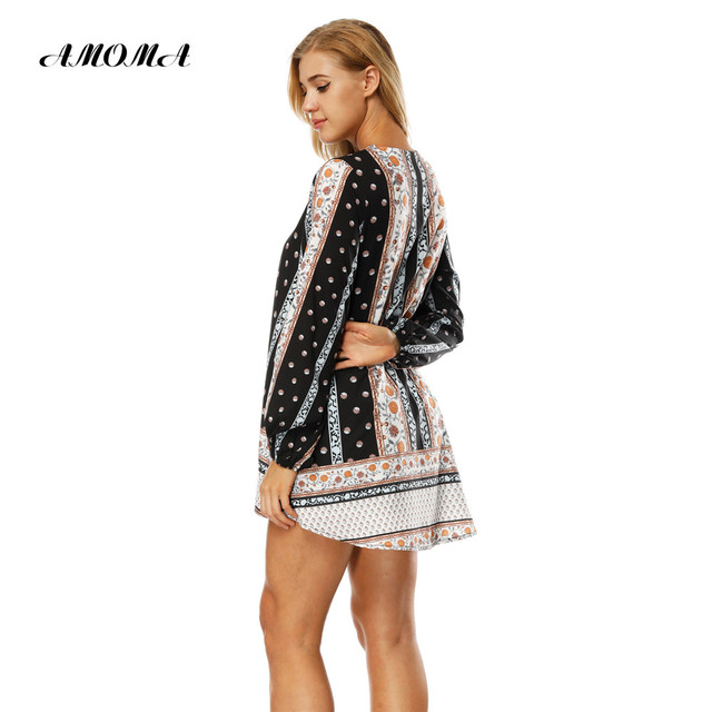 AMOMA Polka Dot V-neck Long Sleeve Loose Blouse Women Spring Summer Fashion Shirts Casual Blusa Dress