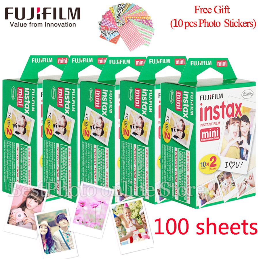 Fujifilm Fuji instax mini 8 film 100 sheets instsnt photo +Free Gift Photo Stickers for mini 8 7s 25 50s 90 Instant Camera Paper fujifilm instax mini 8