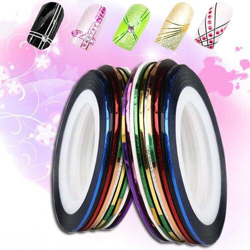 Nail Art Tape Strips: Fantastic 10 Roll Mix Color Metallic Nail Art Tape Lace