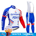 2019 Pro Team FDJ Winter Radfahren Jersey 9D Hosen Set MTB Uniform Fahrrad Kleidung männer Thermische Fleece Fahrrad Kleidung radfahren Tragen