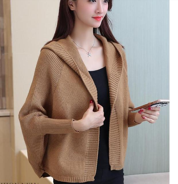 f052bbbbcf2 Korean Sweater coat Autumn outfit 2017 new style women loose and comfortable  Hooded Cardigan Knitwear LongJiFan