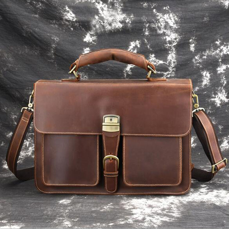 Genuine Crazy Horse Cowhide Leather Men Messenger Bag For Laptop Male Vintage Brand Tote Shoulder Crossbody Bags Handbag crazy horse cowhide genuine leather briefcase for men vintage laptop handbag tote bags brand business messenger shoulder bag new