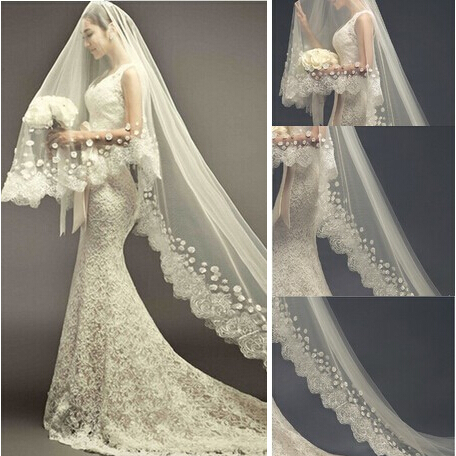 2017 New Luxury Wedding Veil With Long Train Liques 3m White Ivory Accessories