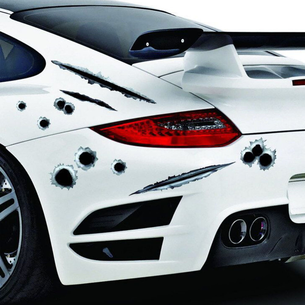 Cool car sticker design - 1pcs Creative Car Styling 3d Fake Bullet Hole Gun Shots Funny Car Stickers Decals China