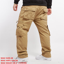 Cargo Pants Men Trousers Full Length Extra Large Size Tactical Pants Cotton Safari Style Sweatpants Plus Size Solid Khaki Color