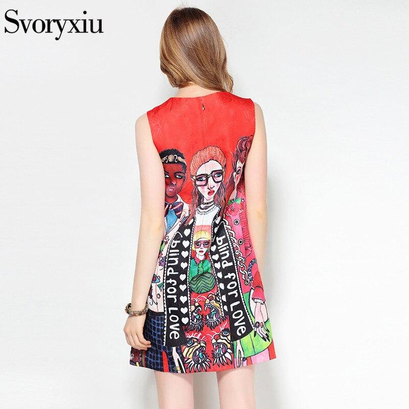 Image 5 - Svoryxiu 2019 designer de moda verão sem mangas vestido curto das  mulheres dos desenhos animados personagem carta impressão jacquard  vermelho mini vestidoVestidos