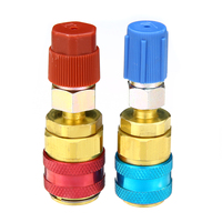 2pcs Mayitr R134A Quick Adapters Coupler Connector High Low Pressure For Car Automotive Air Condition Refrigerant