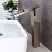 Basin Faucets Modern Antique Bronze Brass Faucets Mixer Taps Waterfall Spout Water Tap Bathroom Sink Faucet Nickel Bath Crane