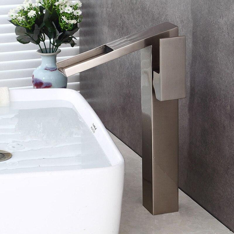 Robinets de bassin moderne Antique Bronze laiton robinets mélangeur robinets cascade bec robinet d'eau salle de bains évier robinet Nickel grue de bain