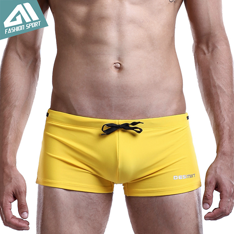 DESMIIT Men's Swimwear Sport Tie Rope Swim Shorts Solid Popular Men Swimsuit Surfing Beachwear Men's Swimming Shorts DT39
