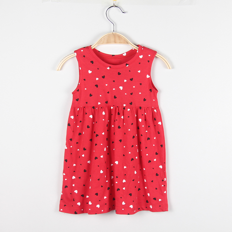 Baby Dresses For Girls Dress Infant Vest 100% Cotton Red Heart-shaped Printed Newborn Cute Clothing Kids Clothes kids girls birthday dresses infant dress newborn girls baby cotton long sleeve clothing 0 4 years