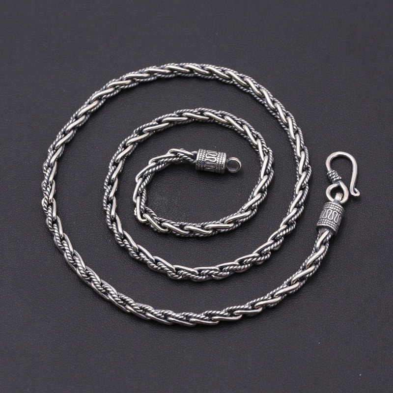 Solid 925 Sterling Silver Chain Necklace Men Twisted Link Weave Dia 4mm Thick Chain 100% 925 Sterling Silver Jewelry Men Vintage
