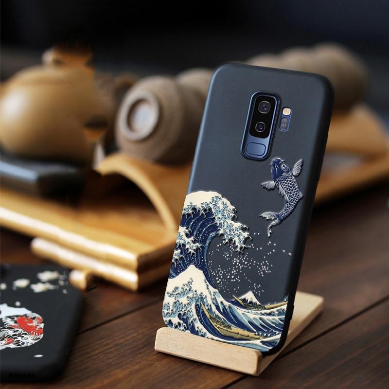 Para Samsung Galaxy S10 S10e Note 10 Plus 9 8 S9 S8 Plus S7 S6 edge Funda 3D en relieve Funda blanda mate LICOERS Funda oficial