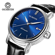 יוקרה למעלה מותג עור Mens מכאני שעון חלול שלד אוטומטי אופנה שעון זכר שעון זוהר תאריך ספורט שעוני יד