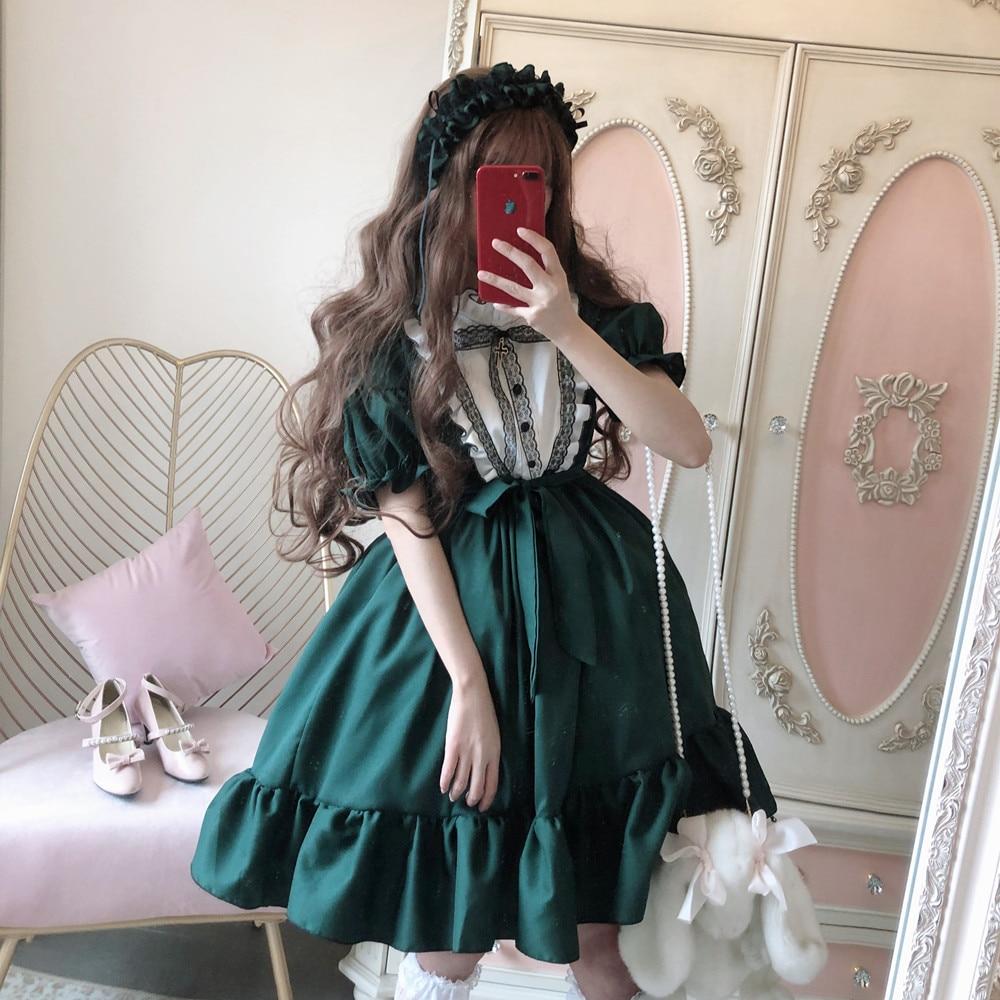 Gothic palace sweet lolita dress vintage lace bowknot o-neck victorian dress kawaii girl gothic lolita op loli cosplay