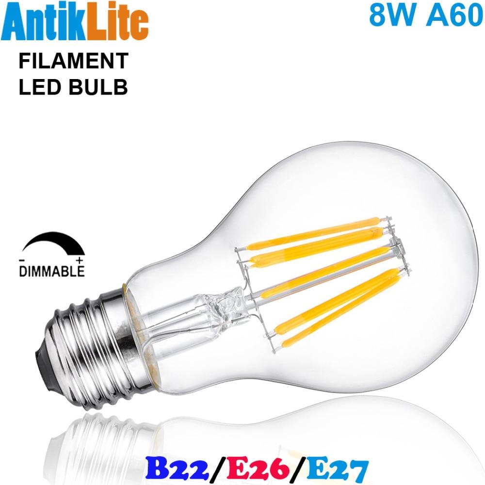 60W Equal Medium Screw (ES) Base/Bayonet Cap (BC) B22 Standard Pear Shaped A60/A19 E27/E26 LED Filament Edison Light Bulb 8W lo not equal пиджак