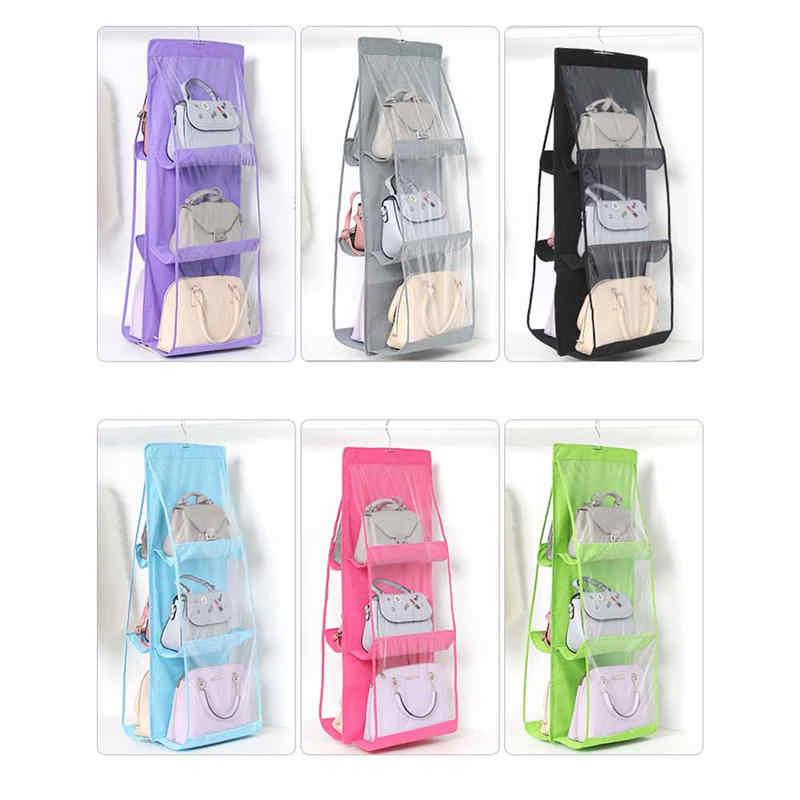 6 карманная подвесная сумка-Органайзер для гардероба, шкаф, сумка для хранения одежды, дверь, стена, прозрачная сумка для обуви, домашняя Сумка-вешалка