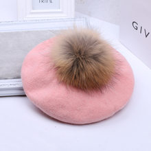 Invierno cálido pompón boinas gorras de fieltro de lana de mujer Casual boinas  sombreros con 14 cm Natural mapache piel de zorro. 83d5059ae39