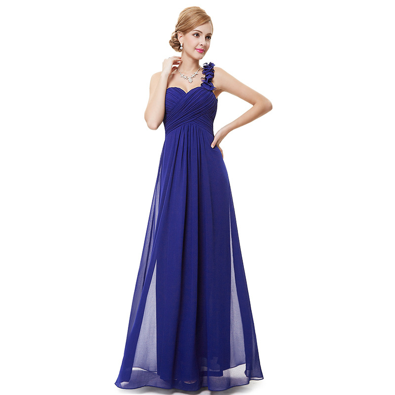 Ladies Long Chiffon A Line   Bridesmaid     Dress   Royal Blue Wedding Party Formal   Dresses   Vestido De Festa One Shoulder Prom Gowns