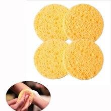 10 PCs Natural Wood Fiber Round Yellow 8cm Dia Face Wash Cleansing Sponge Makeup Tools Accessories