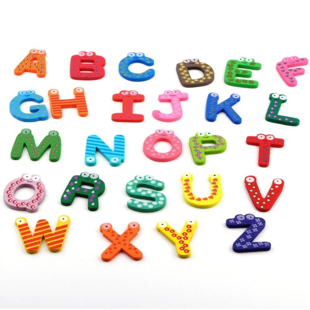 Trustworthy 2018 Hot Sale New Kids Toys 26pcs/set Wooden Cartoon Alphabet ABC~XYZ Magnets Child Educational Wooden Toy Gift