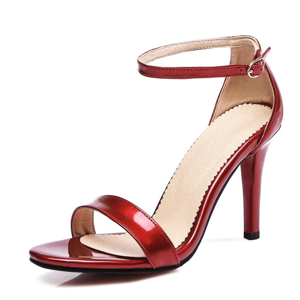 ФОТО Super Fashion Women Sandals Nice Peep Toe Thin Heels Sandals Popular Black Red Pink Light Pink Shoes Woman Plus US Size 3.5-13