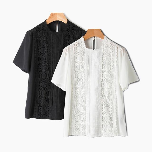 6e6d400cfb80a3 Women s white lace silk blouse shirt 2017 summer short sleeve petal collar  shirt