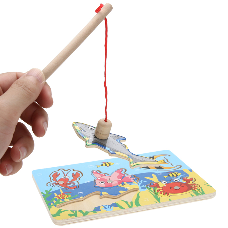 3D Jigsaw Puzzle Toy Wooden Mini Magnetic Puzzle Fishing Game Jigsaw Puzzle Toy Educational Toys for Kids Gift