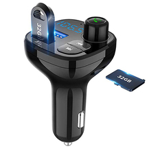 цена на Bluetooth Wireless Car Mp3 Player Handsfree Car Kit FM Transmitter A2DP 5V 3.1A USB LED Display QC3.0 Fast charge Car charger
