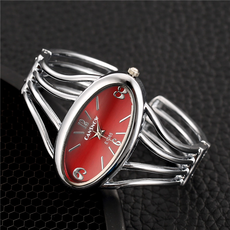 2019 New Stylish Women Bracelet Watch Full Steel Analog Quartz Clock Silver Oval Dial Casual Clock Hot Relojes Para Mujer