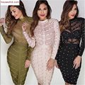 2017 women winter bodycon party dress olive green mesh black red khaki knee length celebrity long sleeve bandage dress vestidos