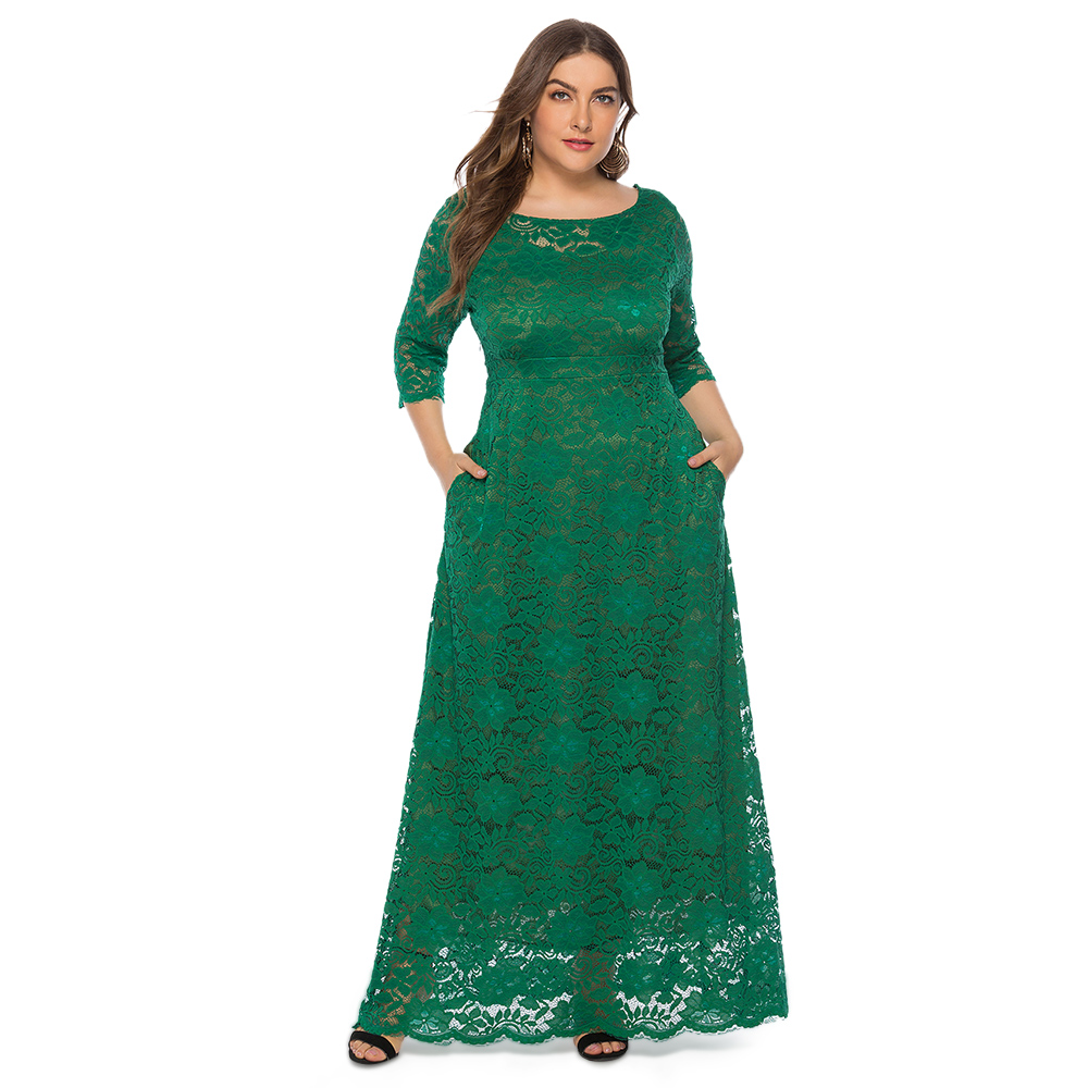 Plus Size <font><b>6XL</b></font> <font><b>Women</b></font> Formal Dress O Neck Three Quarter Sleeves Maxi Elegant Solid Lace Party Dress Robe Femme image