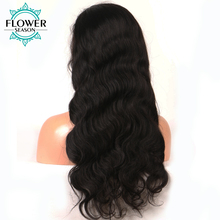 FlowerSeason Non Remy Brazilian Hair 5*4.5 Silk Base Full Lace Human Hair Wigs With Baby Hair Body Wave For Black Women