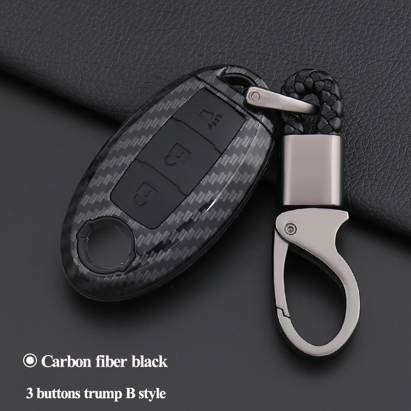3 Buttons Carbon Fashion Car Key Cover Case Smart Remote For Nissan Teana X-Trail Qashqai Livina Sylphy Tiida Sunny March Murano