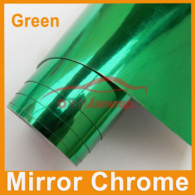Free shipping Wholesale 30M a roll car wrapping film Car Sticker green Mirror Chrome vinyl with Air bubble free car decoration