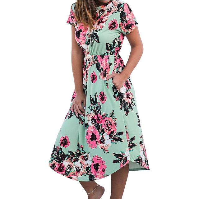 ca6a1527141 Girls Beach Casual Dress Floral Summer Autumn Tunic Femme New Short Sleeve  Boho Floral Printed Pocket Midi Dress GV879-B