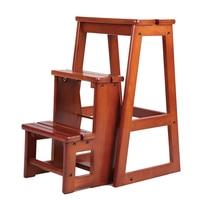 Современный многофункциональный три шага библиотека лестницы стул библиотека мебель складной деревянный стул стремянка для дома