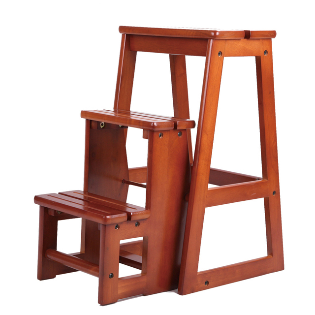 Modern Multi Functional Three Step Library Ladder Chair Library Furniture  Folding Wooden Stool Chair