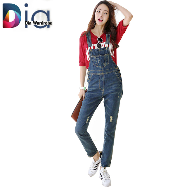 daaecbba626e Dia Women Denim Skinny Rompers and Jumpsuit Overalls Korean New Hole 3 Color  Plus Size Lady Elegant Jeans Jumpsuits Pants H191