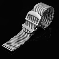 TKN Replacement stainless steel strap 20mm 22mm Milanese mesh wristband deployment buckle for IWC watch band accessories