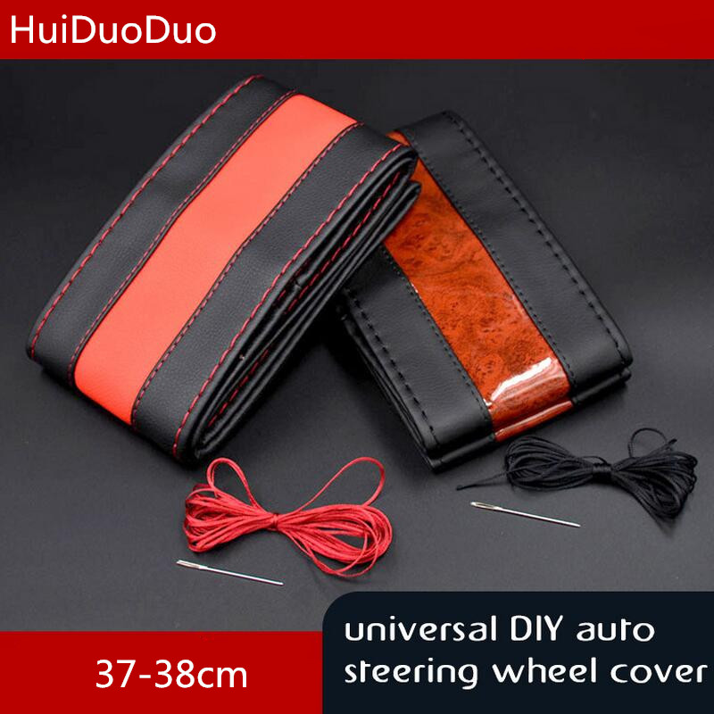 Car Styling 37 38CM Micro Fiber Leather Hand Sewing Black Red Gay Color General Car