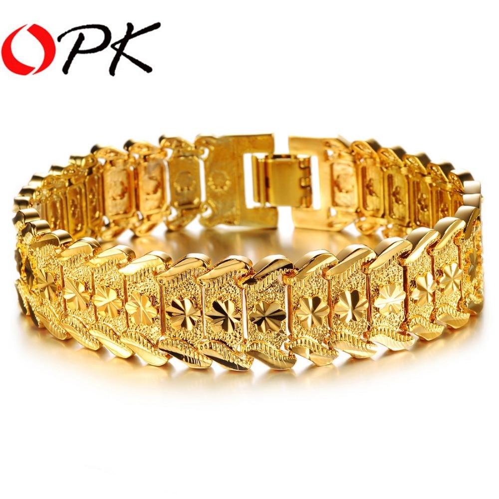 298686211 OPK Men's Gold Color Bracelet & Bangles Chunky Gold Color 21cm Link Chain  Luxury Classic Men