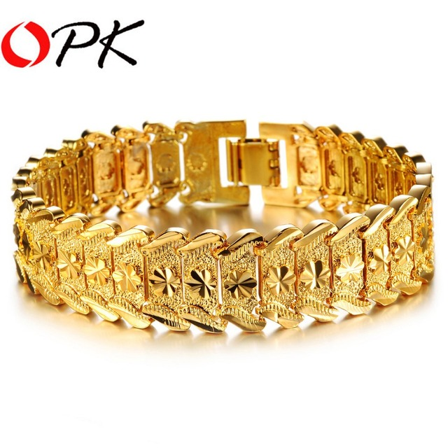 Men's Gold Color Bracelet & Bangles Chunky Gold Color 21cm Link Chain Luxury Classic Men Jewelry, DM398